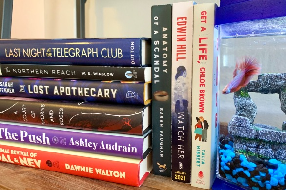 A stack of books that I read in March sit next to a fish tank with my betta fish Reggie.